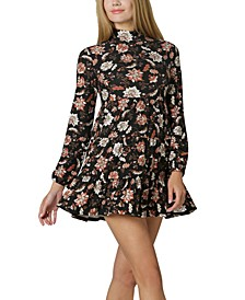 Juniors' Mock-Neck Floral Dress