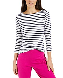 Pima Cotton Striped Top, Created for Macy's
