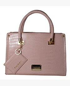 Bella Croco Medium Satchel with Card Case