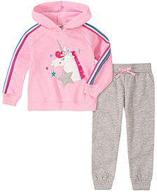 Toddler and Little Girls Two Piece Unicorn Hooded Fleece Top with Fleece Pant Set