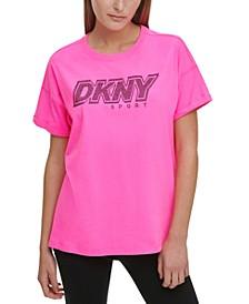 Sport Cotton Rhinestone-Logo T-Shirt