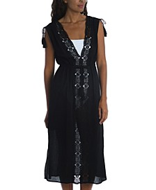 Embroidered Island Fare Midi Cover-Up Dress