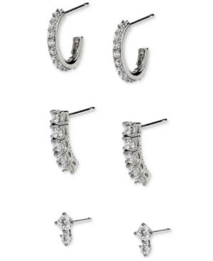 Silver-Plated 3-Pc. Set Cubic Zirconia J-Hoop & Stud Earrings