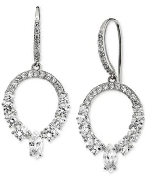 Silver-Plated Cubic Zirconia Open Drop Earrings