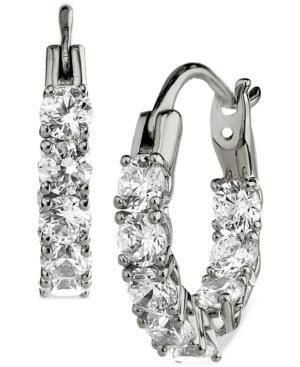 Silver-Plated Small Cubic Zirconia Hoop Earrings