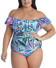Plus Size Palm Off-The-Shoulder One-Piece Swimsuit