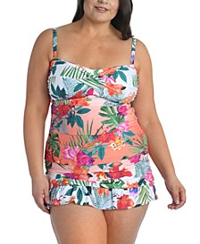 Plus Size Tropicalia Twisted Bandeau Tankini Top & Swim Skirt