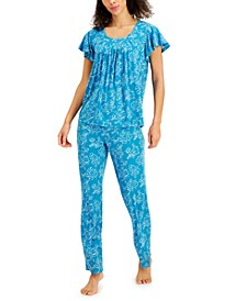 Printed Pleated-Front Pajama Set, Created for Macy's