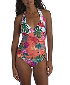 Printed Halter Tankini Top & Side-Shirred Hipster Bikini Bottoms