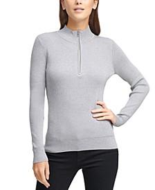 Half-Zip Metallic Sweater
