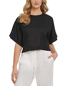 Dropped-Shoulder Linen Crop Top