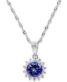 """Tanzanite (5/8 ct. t.w.) & Diamond (1/10 ct. t.w.) Halo Stud 18"""" Pendant Necklace in 14k White Gold"""