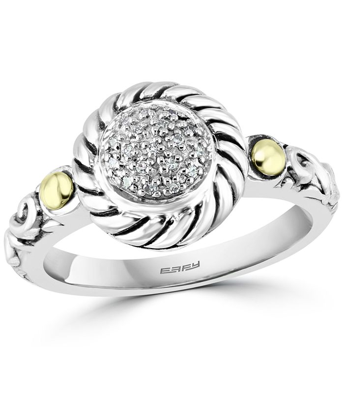 EFFY Collection - Diamond Cluster Statement Ring (1/20 ct. t.w.) in Sterling Silver & 18k Gold-Plate