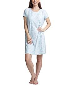 Printed Short Sleeve Sleepshirt Nightgown