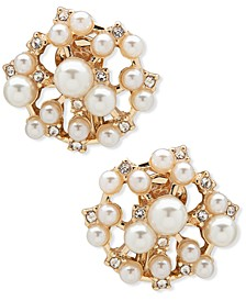 Gold-Tone Imitation Pearl & Crystal Clip-On Earrings