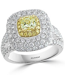 EFFY® Yellow & White Diamond Halo Ring (2-3/4 ct. t.w.) in 18k Gold & White Gold