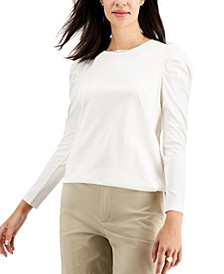 Supima Cotton Shirred-Sleeve Top, Created for Macy's