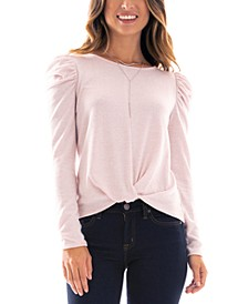 Juniors' Puff-Sleeve Twist-Hem Necklace Top