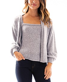 Juniors' Tank & Cardigan Sweater Set