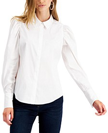 Poplin Puff-Sleeve Blouse, Created for Macy's