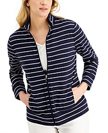 Striped Mock-Neck Jacket, Created for Macy's