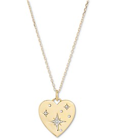 """Diamond Star Heart Disc Pendant Necklace (1/20 ct. t.w.) in 18k Gold-Plated Sterling Silver, 17"""" + 1"""" extender"""