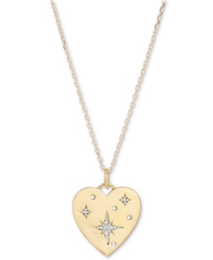 Diamond Star Heart Disc Pendant Necklace (1/20 ct. t.w.) in 18k Gold-Plated Sterling Silver
