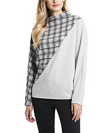 Women's Plaid Jacquard Cozy Dolman Sleeve Top