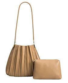 Carrie Pleated Vegan Leather Shoulder Bag