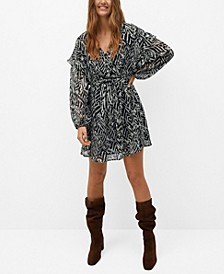 Women's Ruffled Printed Dress