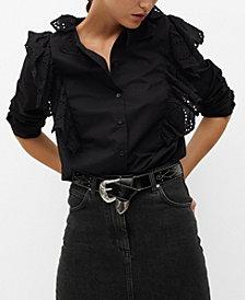 MANGO Women's Ruffled Cotton Blouse