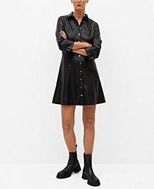 Women's Faux-Leather Shirt Dress