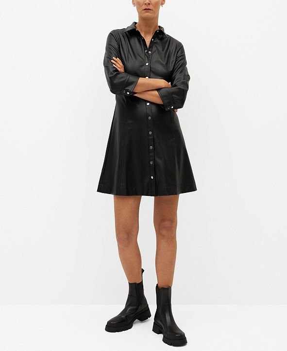 MANGO Women's Faux-Leather Shirt Dress