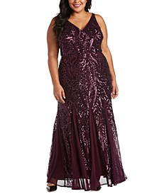 Plus Size Sequined Mesh Gown