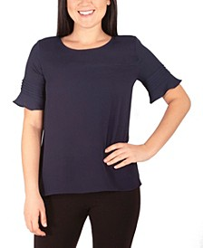 Women's Tone On Tone Scoop Neck Top