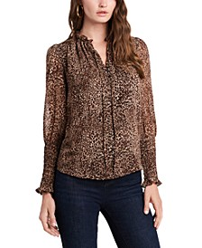 Ruffled Cheetah-Print Top