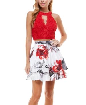 Juniors' Halter Top & Floral Skirt