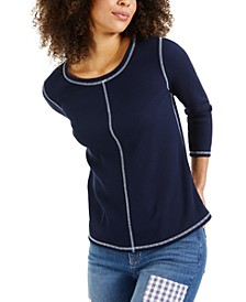 Petite Contrast-Seamed Top, Created for Macy's