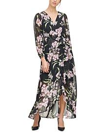 Floral-Print Ruffled Midi Dress