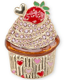 Gold-Tone Pavé Strawberry Cupcake Pin, Created for Macy's