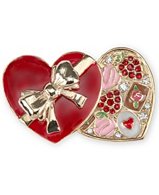 Gold-Tone Pavé Chocolate Heart Box Pin, Created for Macy's