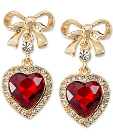 Gold-Tone Bow & Crystal Heart Drop Earrings, Created for Macy's