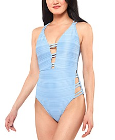 Ribbed Plunge Strappy One-Piece Swimsuit