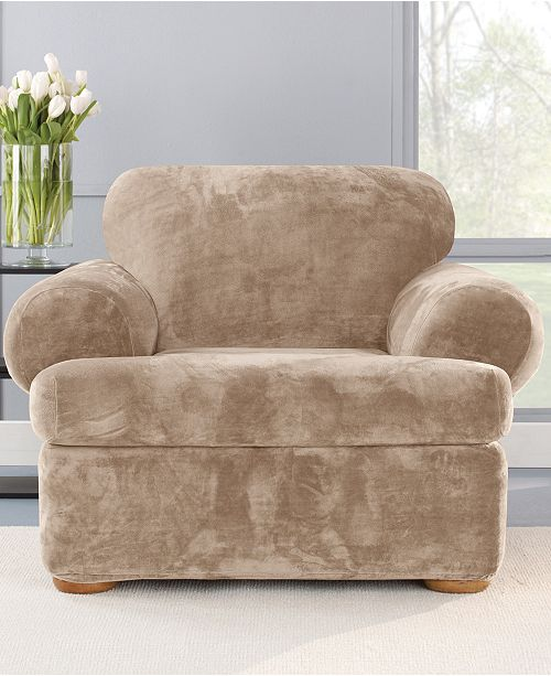 Sure Fit Stretch Plush 2-Piece T-Chair Slipcover