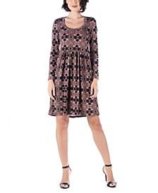 Women's Long Sleeve Pleated Dress