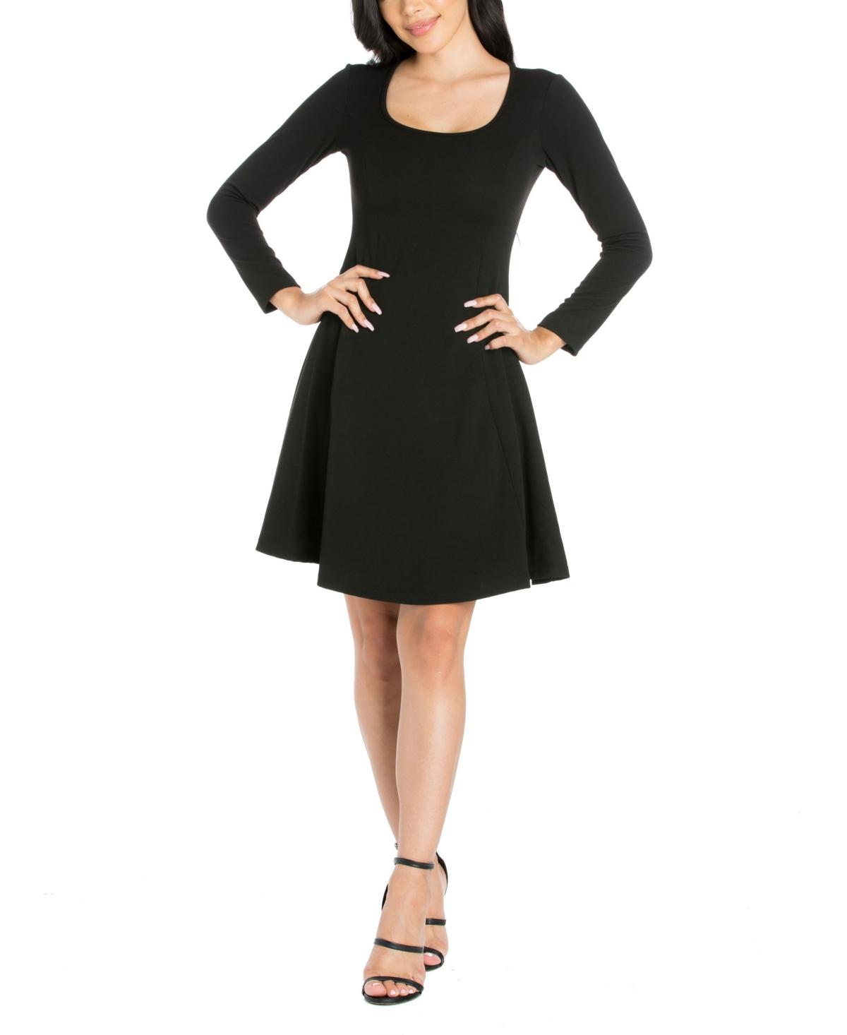 Womens Long Sleeve Knee Length Skater Dress