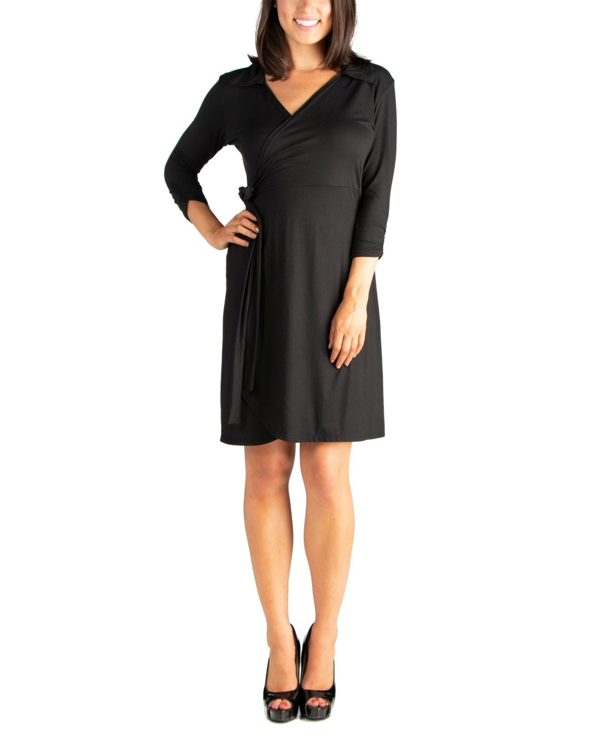 Womens Collared V-Neck 3/4 Sleeve Wrap Dress