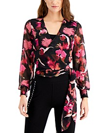 Floral-Print Wrap Top, Created for Macy's