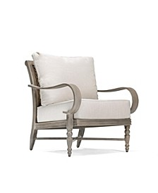 Winston Grayson Wicker Outdoor Lounge Chair with Outdoor Outdura ® Remy Sand Cushion, Created for Macy's