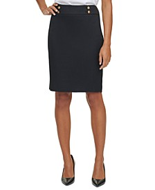 Button Waist Pencil Skirt